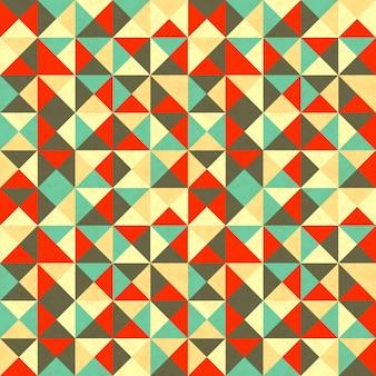 レトロな色の三角形、抽象的なシームレスパターン