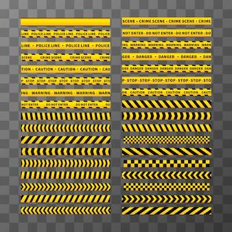 透明な背景に異なるシームレスな黄色と黒の注意テープのセット