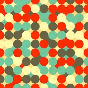 カラフルなサークル、レトロなシームレスパターン