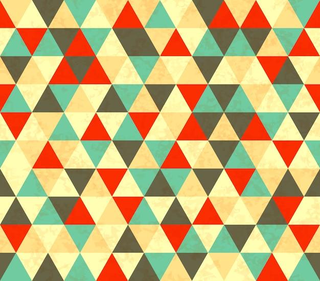 カラフルな三角形のレトロなシームレスパターン