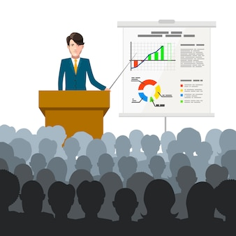 ビジネスマンは、プラカードの財務チャートと聴衆に講義を開催します