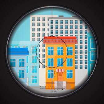 Снайпер целится в окно дома, квадратная плоская иллюстрация