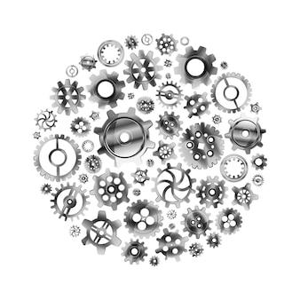 白で隔離される円形に配置された光沢のある金属歯車