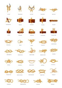 Большой набор различных морских узлов на белом