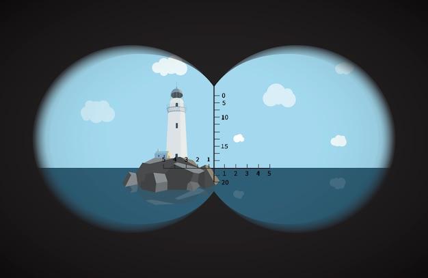 Вид из бинокля на маяк на скалы в море