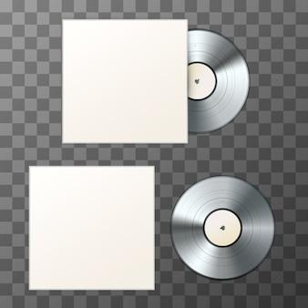 カバー付きブランクプラチナアルバムビニールディスクのモックアップ