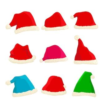 Набор ярких шапок деда мороза на рождество и новый год