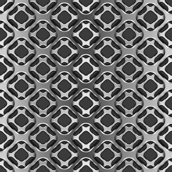 黒、シームレスなパターンに影付きの金属グリッド