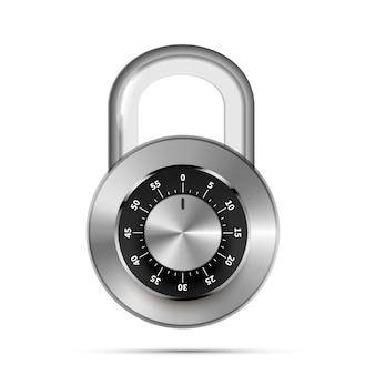 白で隔離コード番号と現実的なラウンド南京錠