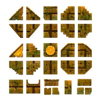 Мультяшный древний кирпич, игровое искусство изолирован на белом