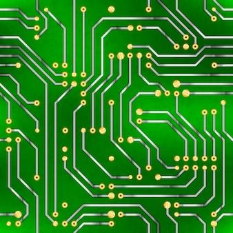 複雑なコンピューターのマイクロチップ、グリーンのシームレスパターン