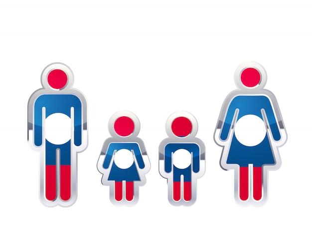 ラオスの旗、白のインフォグラフィック要素を持つ男、女、子供の形で光沢のある金属バッジアイコン