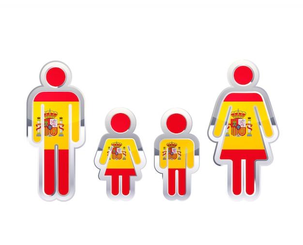 Глянцевый значок металлический значок в мужчина, женщина и детские фигуры с флагом испании, инфографики элемент изолирован на белом