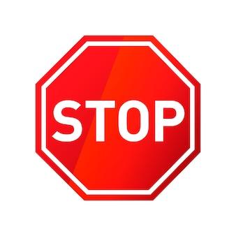 白で隔離赤い光沢のある道路標識を停止します。