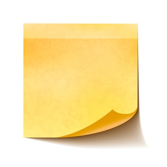 白い背景上に分離されて現実的な黄色の付箋