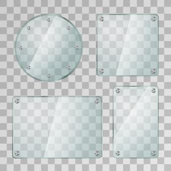 透明な背景に金属製のネジでさまざまな形の現実的な光沢のあるガラスプレートのセット