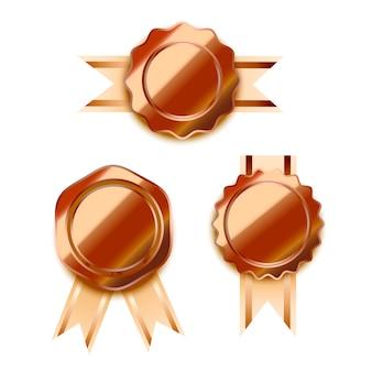 Установить яркие бронзовые награды с лентами, глянцевые значки победителя на белом