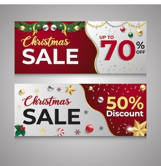 Рождественская распродажа скидка красно-белый баннер