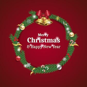 メリークリスマスと幸せな新年の花輪カード