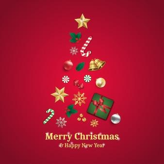 メリークリスマスとクリスマスツリーの要素を持つ幸せな新年のグリーティングカード