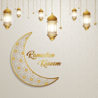 招待状カードの背景パターンを祝うラマダンカリームゴールドランタン
