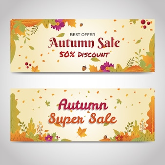 秋の割引販売バナーウェブサイトソーシャルメディア