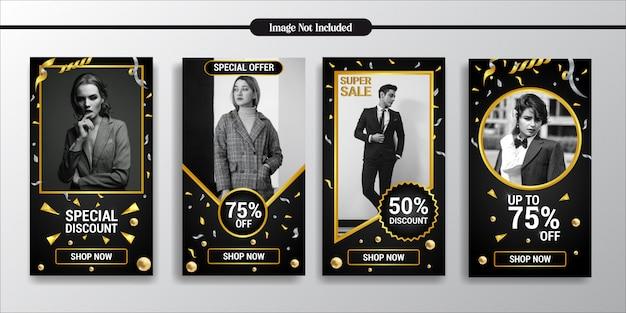 Инстаграм истории эксклюзивный золотой стиль моды шаблон