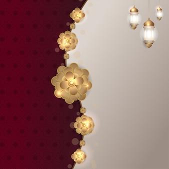 イスラム赤マルーン黄金の花の正方形の背景