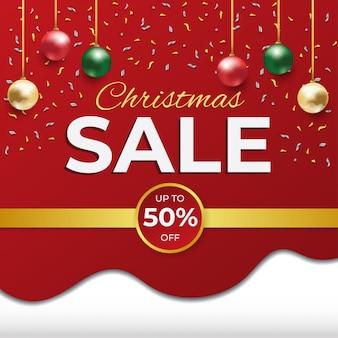 Новогодняя распродажа скидка красно-белый квадратный баннер