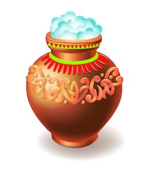 粘土の鍋は白い背景で隔離のご飯でいっぱい