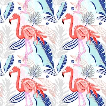 Рука рисования бесшовные модели с розовым фламинго и тропическим ле