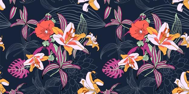 シームレスな芸術的な花模様、美しいトロピカルフローラルエキゾチック