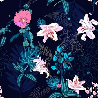 オリジナルのトレンディなシームレスな芸術的な花模様
