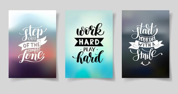 Набор из трех рукописных букв положительных вдохновляющие цитаты