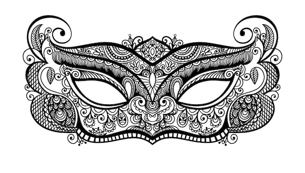 黒のラインアートベネチアンカーニバルマスクシルエット