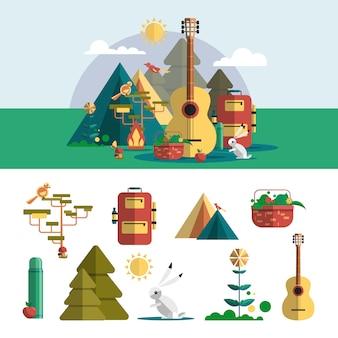 フラットスタイルのキャンプの屋外デザイン要素。ハイキング旅行のコンセプト
