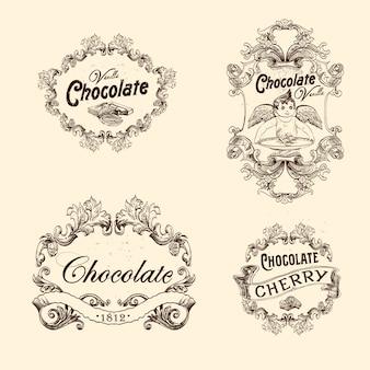 チョコレートのラベル、デザインエンブレムのベクトルを設定します。ビンテージスタイルのイラスト。
