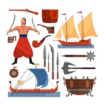 コサックオブジェクト、フラットスタイルのデザイン要素のベクトルを設定します。コサック男、武器、ボート、ドラム。