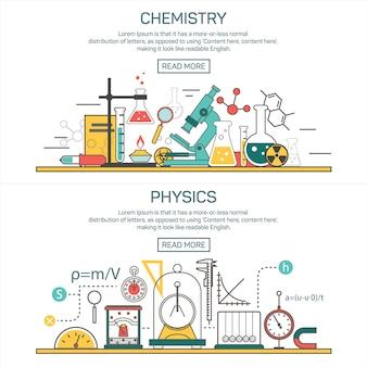 ラインスタイルの科学バナーベクトルの概念。化学と物理学のデザイン要素。実験室作業空間および科学装置