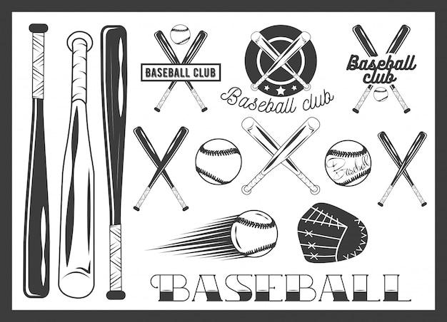 Векторный набор эмблемы бейсбольного клуба, с