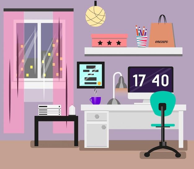 フラットなデザインの寝室のインテリア