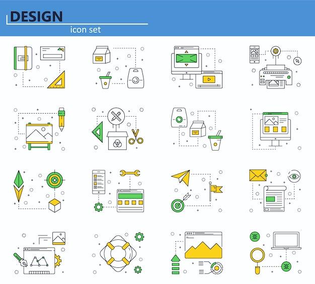 コンピューター、ビジネス、オフィス、デザインのアイコンのベクトルを設定します。ウェブサイトとモバイルウェブアプリのアイコン