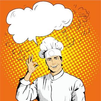 Шеф-повар с речью пузырь показывает знак ок
