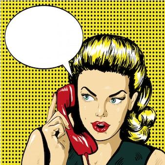 Женщина разговаривает по телефону с речи пузырь