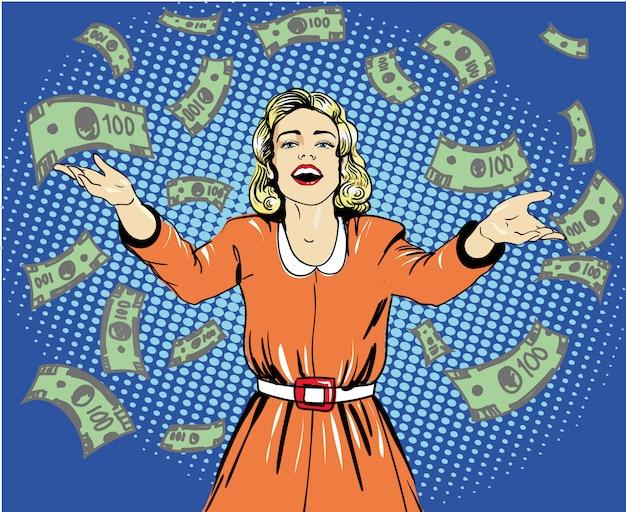 幸せな女はお金を投げます。レトロなポップなアートスタイルのイラスト。吹き出し。