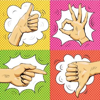 手はレトロなポップアートスタイルでサインします。