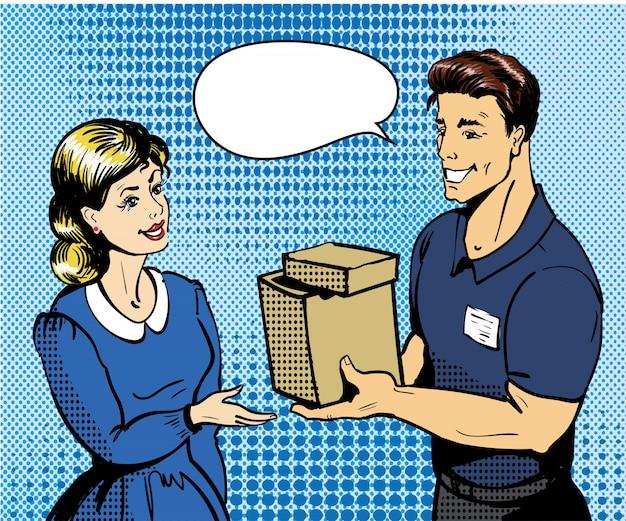 配達人が女性に箱を渡します。