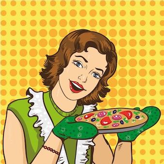 女性が自宅でピザを調理します。レトロなコミックポップアートスタイルのイラスト