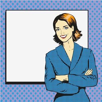 空白のホワイトペーパーポスターを持つ女性。ポップアートコミックレトロなスタイルのイラスト。