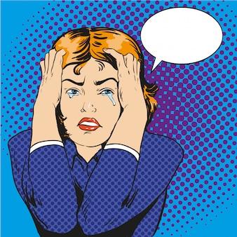 ストレスと泣いている女性。コミックレトロなポップなアートスタイルのイラスト